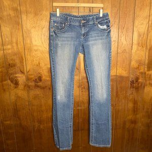 Maurices Light Wash Distressed Bootcut Jeans 7/8 L